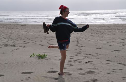 My Tara dancing on the beach