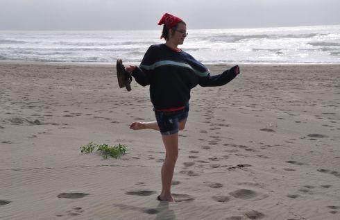 My Tara dancing on the beach
