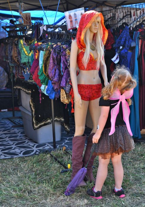 I watched this small faery as she investigated the mannequin. The little one held her hand and talked to her awhile.