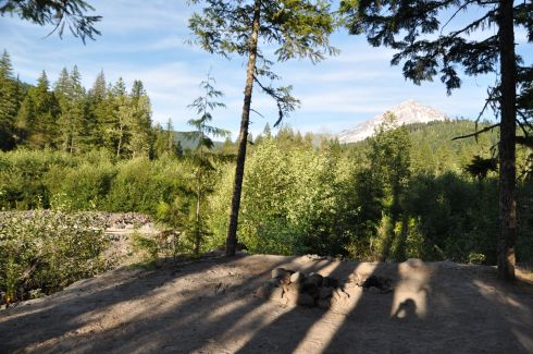 Yes, that's my silhouette snapping a view of the campsite. Mt. Hood in front, Sandy river down below and to the left.