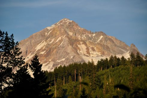 Mt. Hood radiates the evening sun