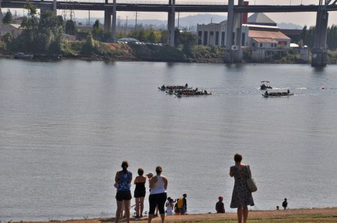 Boats drawing closer, passing in front of our famous Oregon Museum of Science and Industry