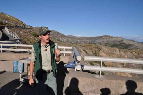 A park ranger gives a talk on how expectations of what to expect when the eruption happened, didn't quite come to pass.
