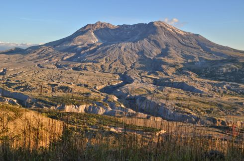 Mt. St. Helens in the setting sun, from Johnston Ridge Observatory