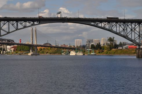 Two of Portland's 12 bridges spanning the Willamette River and the Columbia River.