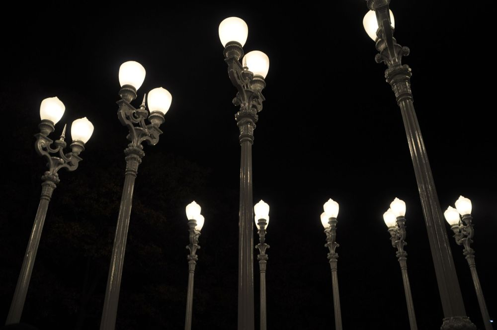 The lampposts are recycled antiques.