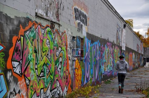 My favourite grafitti spot is in Fitchburg, Mass. I find it powerful that such beauty is created and then destroyed weeks, or even days later, when the artists come back to paint something new.