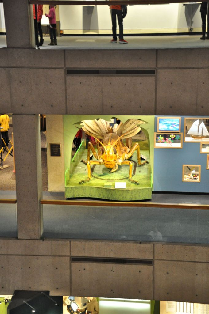 An enormous grasshopper greets us from the second story of the museum.