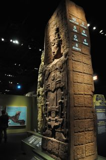 Reproduction of a Mayan tower. The lights flashed on the side are to help visitors learn to read the petroglyphs.