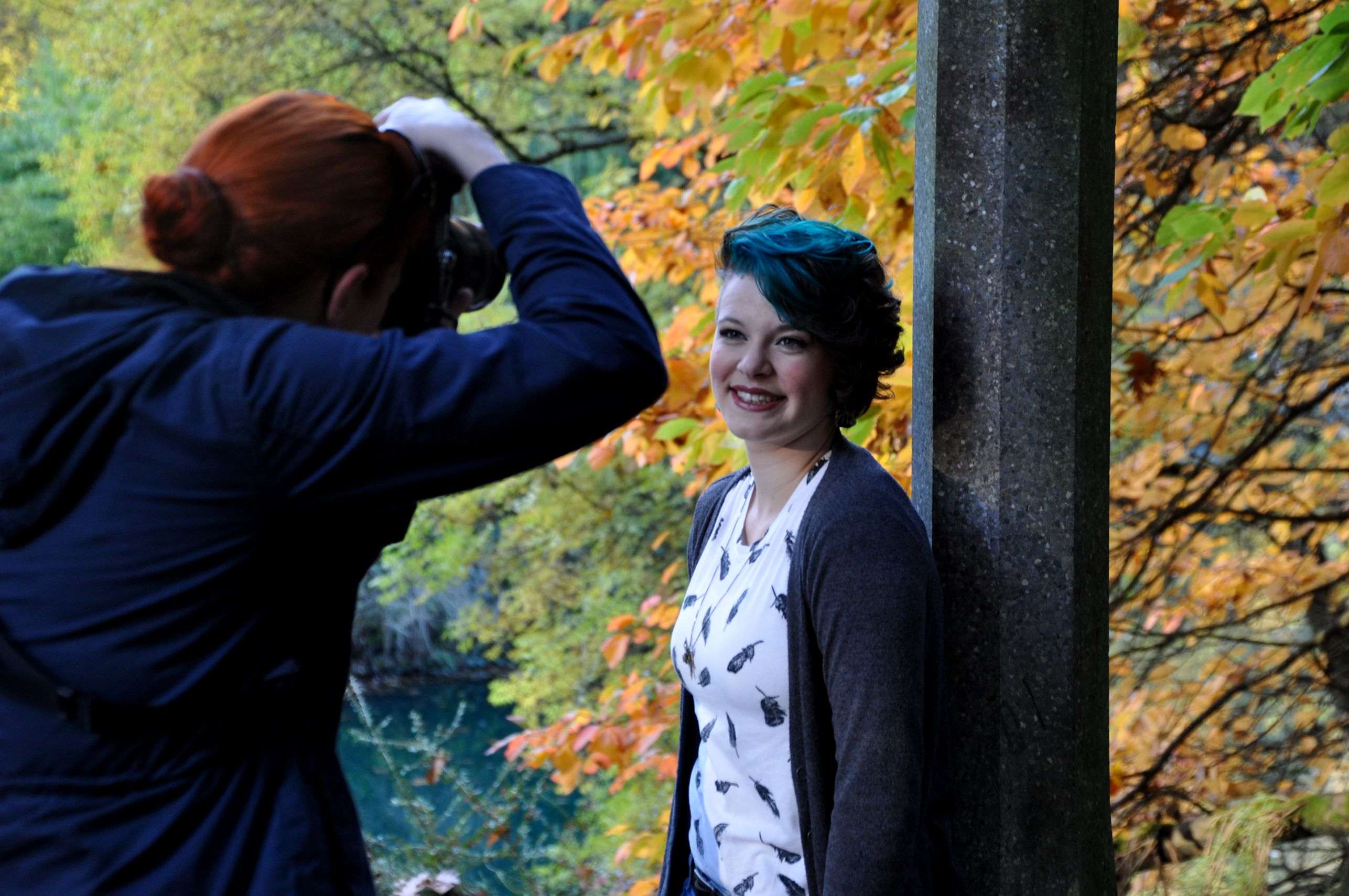Tara hams it up for the first part of the shoot at Laurelhurst Park