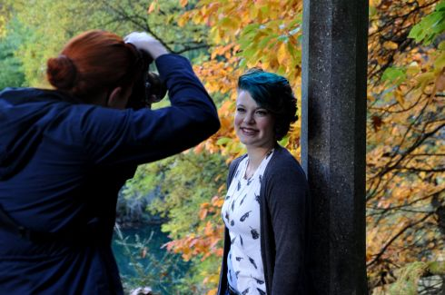 Tara hams it up for the first part of the shoot at Laurelhurst Park