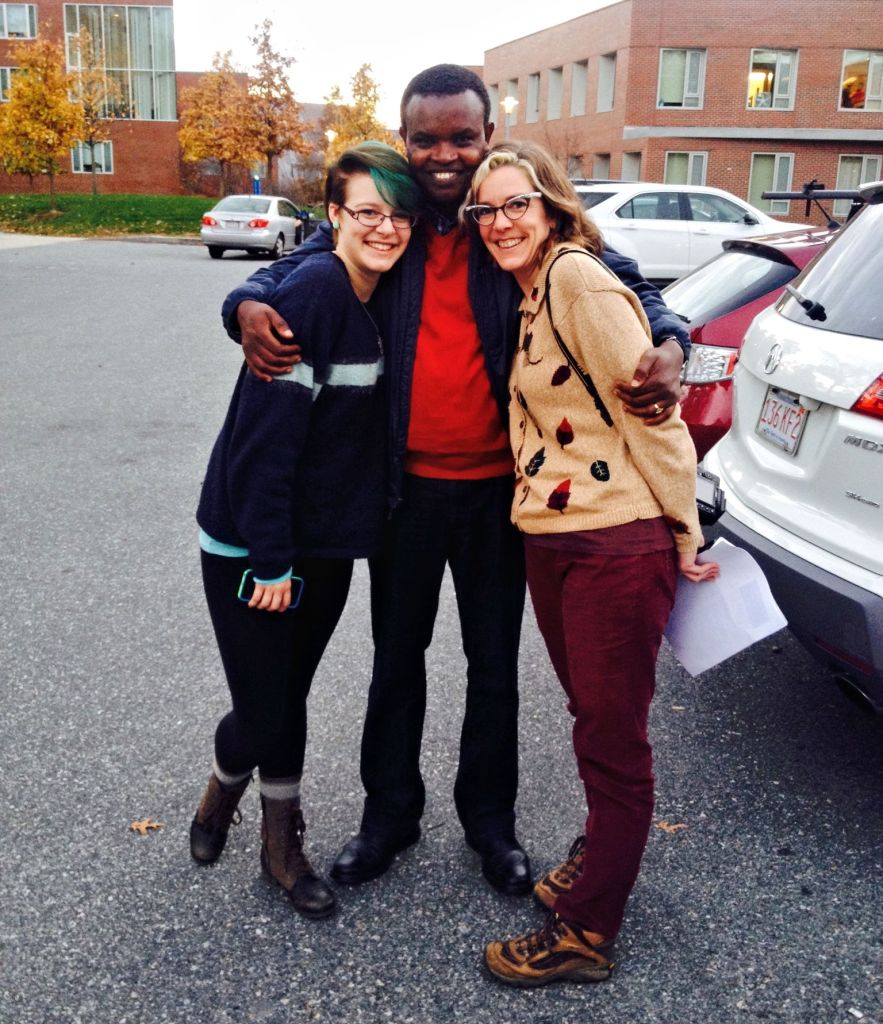 Tara, R, and me in the Brandeis Admissions parking lot