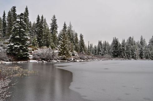 Mirror lake wasn't as mirrory under ice.