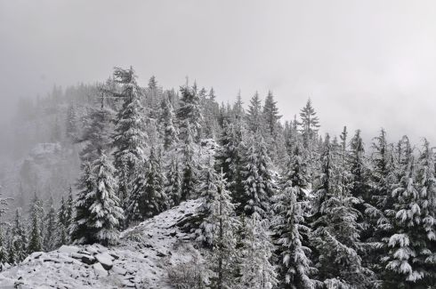 Snowy ridgeline at the top of Tom Dick and Harry Mountain