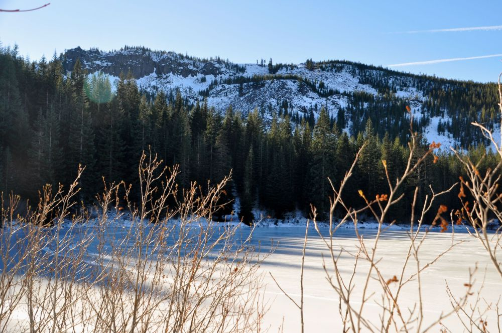 Looking across the lake up to the summit of Tom Dick and Harry Mountain, my next destination.