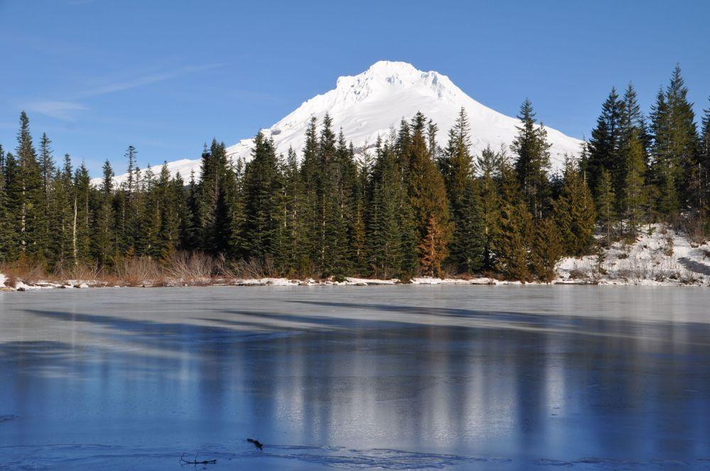 Mt. Hood rises above Mirror Lake
