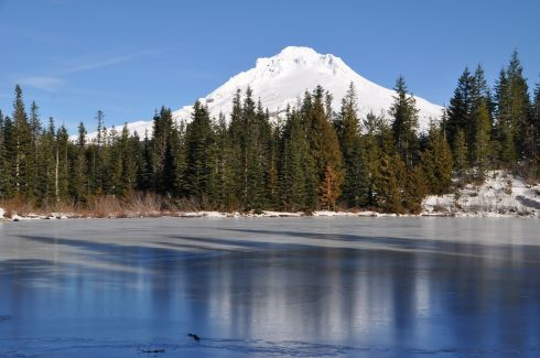 Mt. Hood rises above Mirror Lake