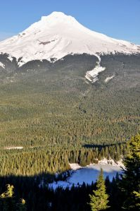 The south side of Mt. Hood rises above Mirror Lake.