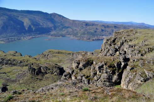 Looking down onto the Columbia River.