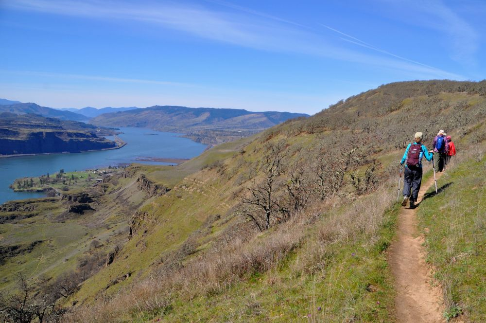 Our trail climbed steeply, and the payoff was incredible views of the Columbia River Gorge.