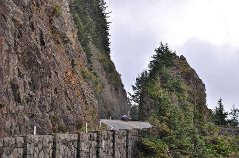 See how the highway cuts a slice right through the rock?