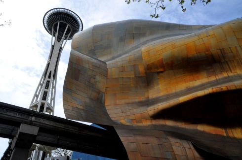 EMP Museum and the Space Needle. The monorail track runs right through the building.
