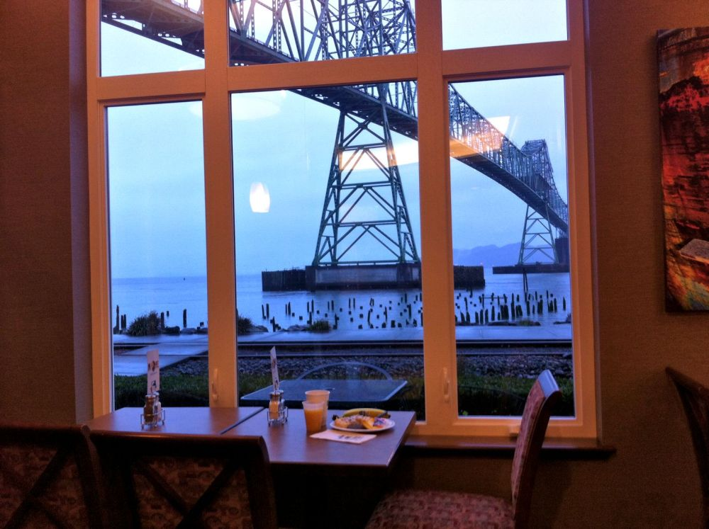 This was the view this morning beyond our table at the Holiday Inn Express. Can you believe this view?