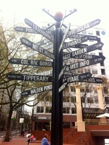 Sign in Pioneer Courthouse Square.