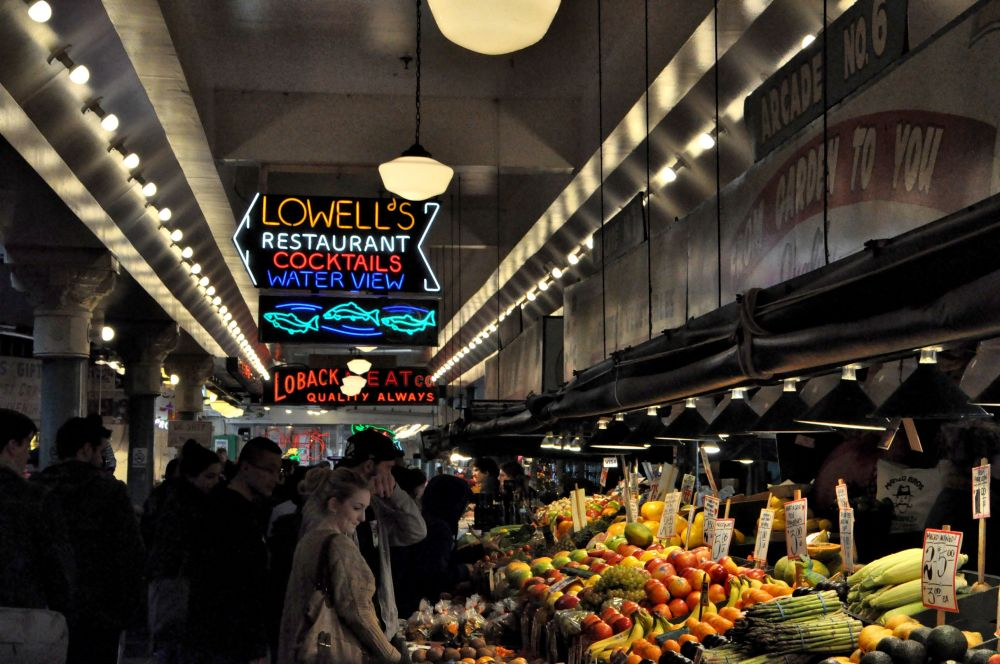 Vegetables for sale at the Pike Place Market