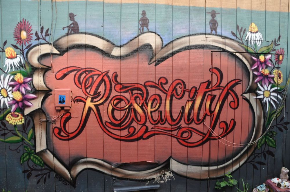 Rose City is another Portland nickname. This is an example of when graffiti can no longer be called an eyesore.