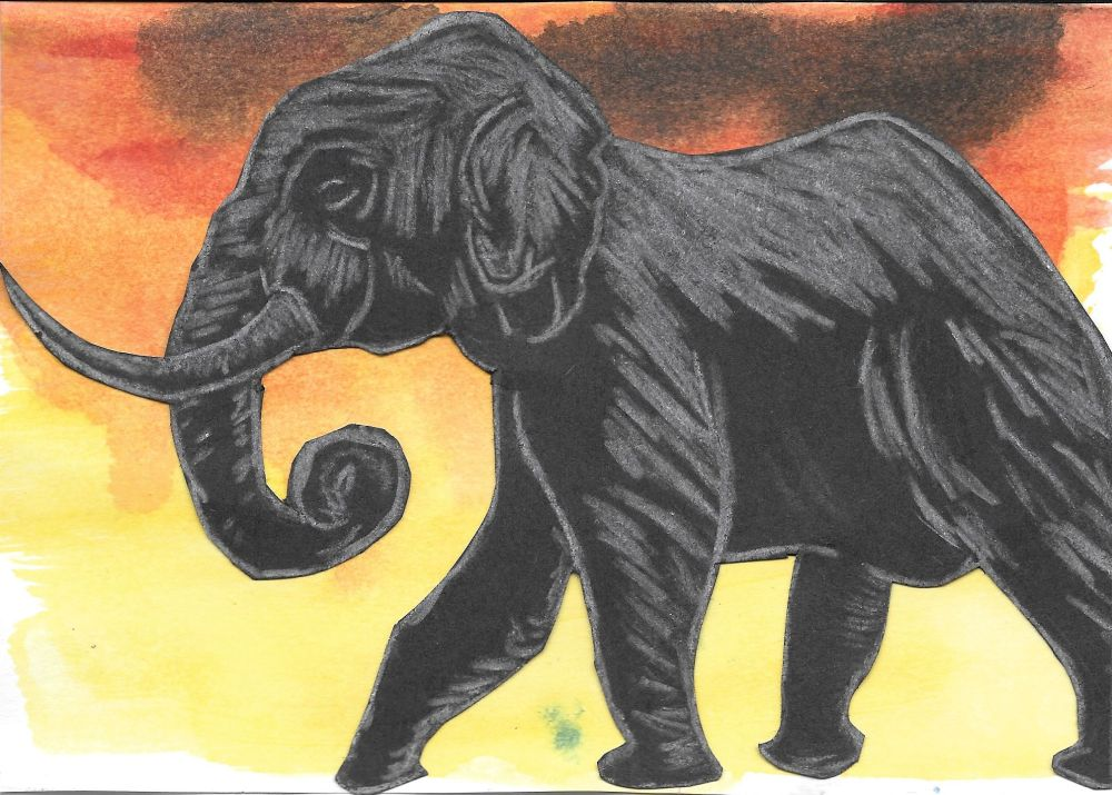 The original sketch of the elephant, that Tara used as a guide to carve the block print.