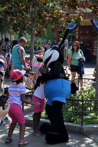 Oswald (who inspired Mickey) greets his fans.