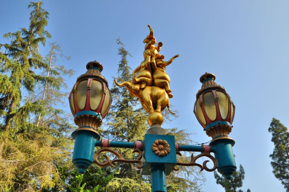 Lamp post over Casey Jr. Circus Train ride, another 1955 original, named after the train in Dumbo.