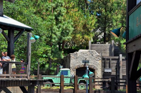 A real U.S. Forest Service jeep was parked outside Eureka Mine No. 2 entrance, at Grizzly River Run (an innertube ride on river rapids).