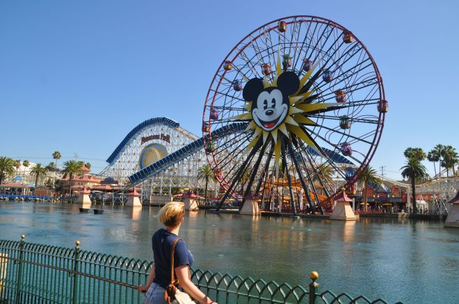 Fabulous rollercoaster above the water in Disney California Adventure Park.