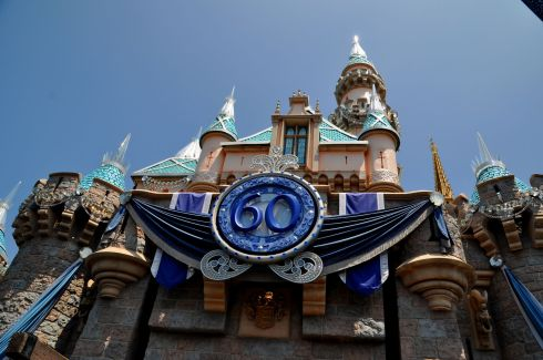 Blue banners and sparkly spires to celebrate the Diamond Anniversary.
