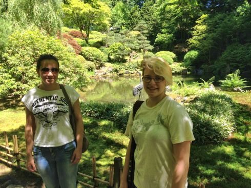 A and Tara pose for me at the Japanese garden