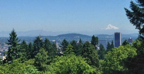 On the other side of the pavilion is this view of Mt. Hood, reminding many of Mt. Fuji because of its symmetrical shape.