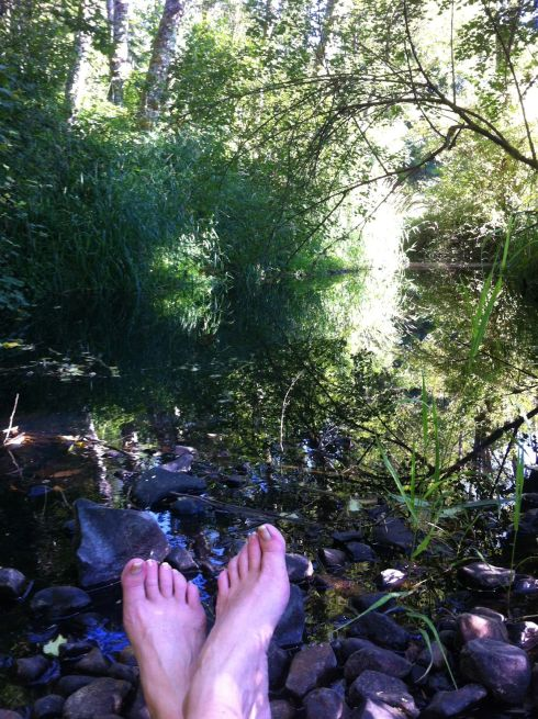 A glass of wine, a flat rock in the shade, and the gurgles of a creek are the right combination for restoring my soul.