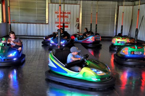 Bumper car racetrack is as much fun for adults as for the kids.