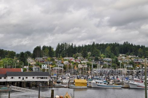 Down at the picturesque Harbor itself. This town is in Puget Sound, so it has full access to the Pacific Ocean, but is protected from seaside exposure.