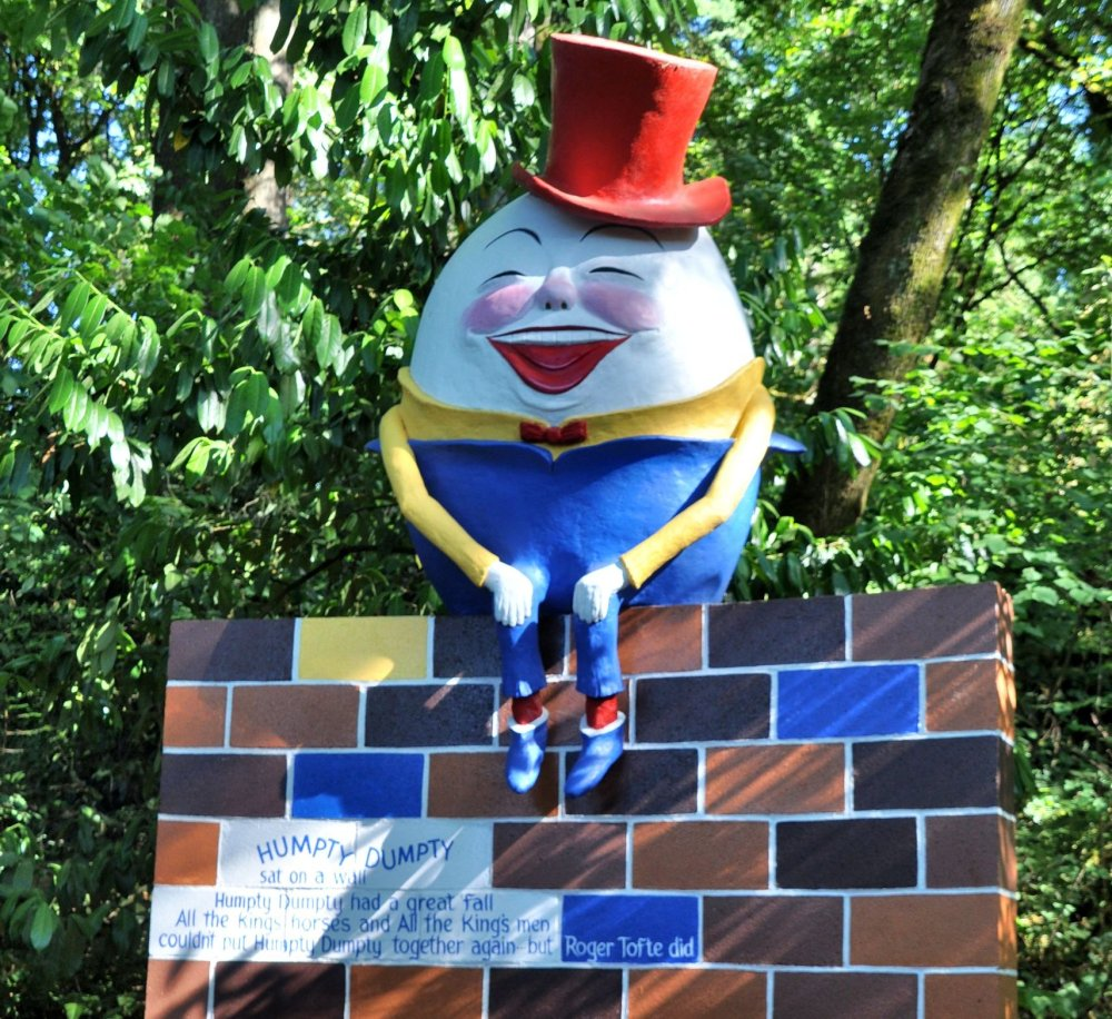 A happy Humpty Dumpty was put back together by Roger Tofte, according to the sign.