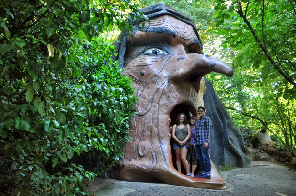 Tara and birthday friends inside the mouth of the witch. The trail continues inside, with scenes from Snow White inside.