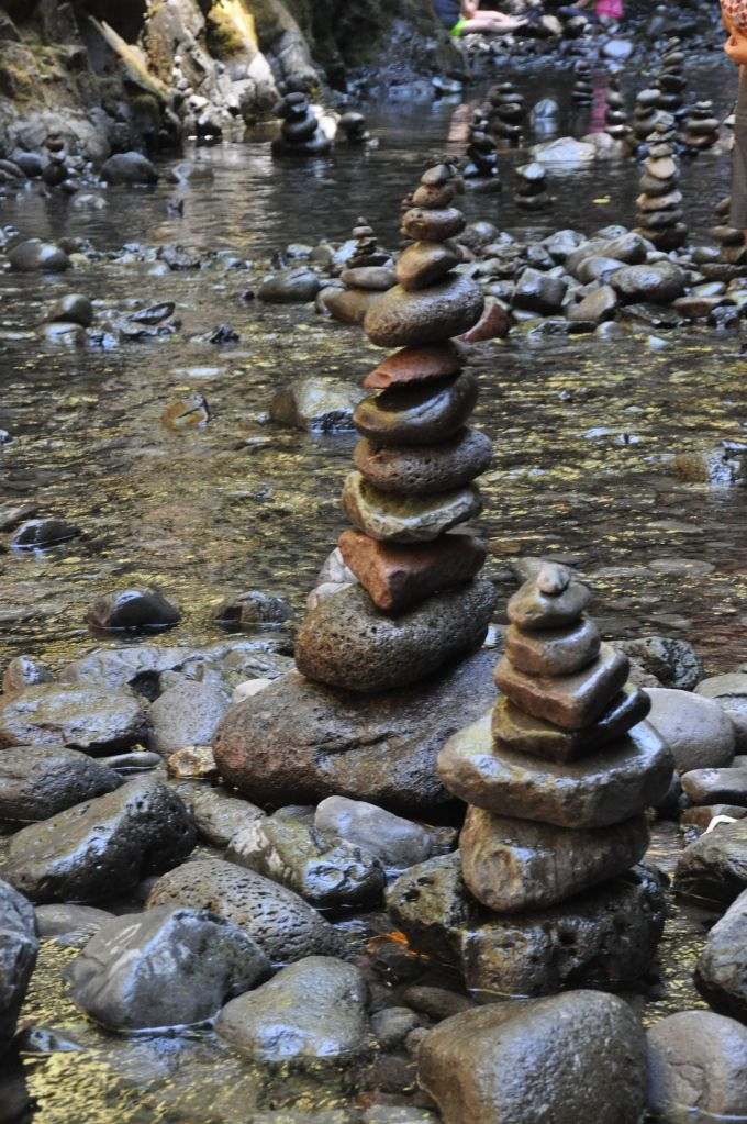 Creative people built about 15 towering cairns in one section of the creek.