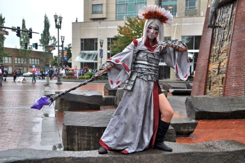 One of the many gorgeous cosplayers on a warm and rainy Vancouver day in September.