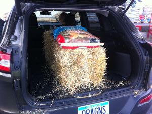 The Jeep is baptized in straw.