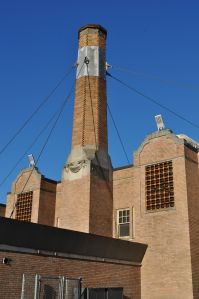 The picturesque chimney at Chapman School.
