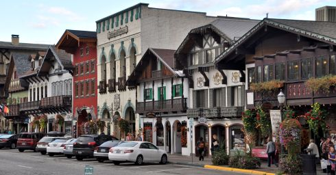 One of the main streets in Leavenworth, Washington.