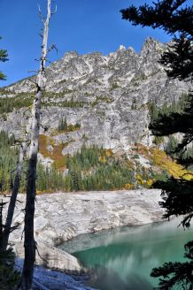 Looking up the side of The Temple (8292 feet) soaring above the shores of Upper Snow Lake.