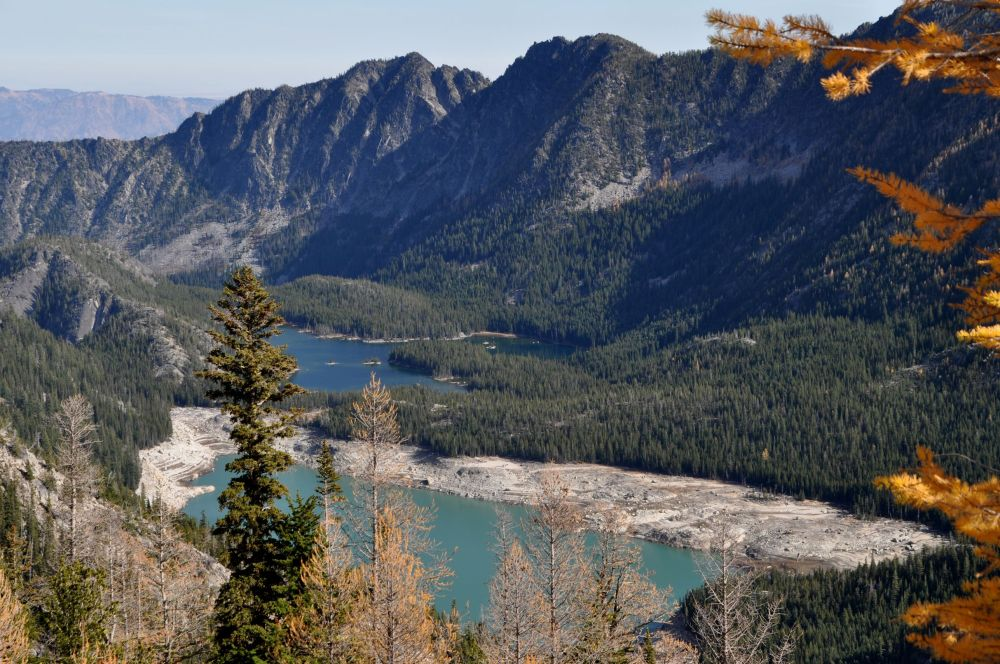 There it is! So close and yet so far. In the distance, Lower Snow Lake and closer to me, Upper Snow Lake.